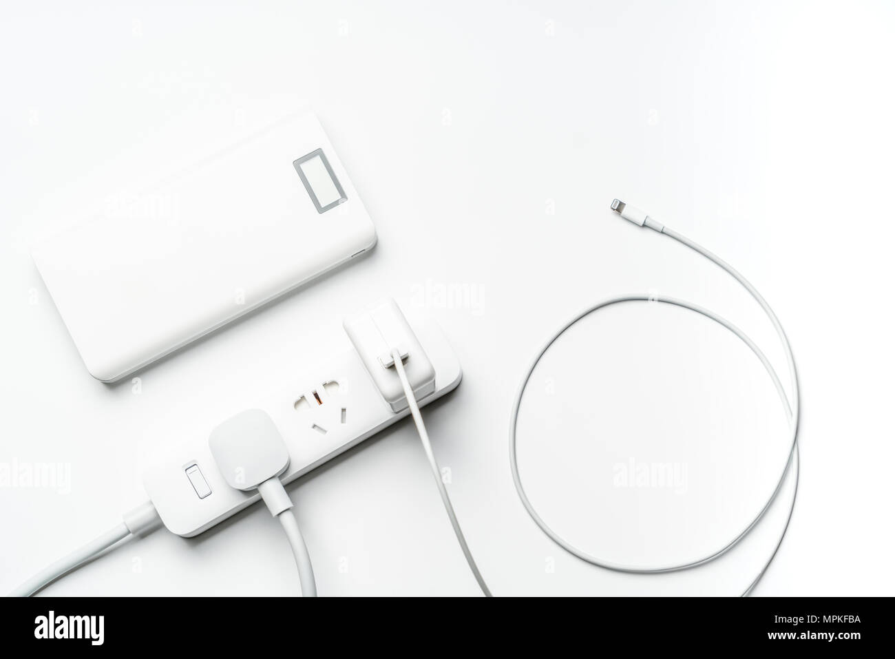 Socket Plug Electric Power Bank And Wire White Color Isolate Save Wiring A Outlet Energy Reduce Efficiency Concept