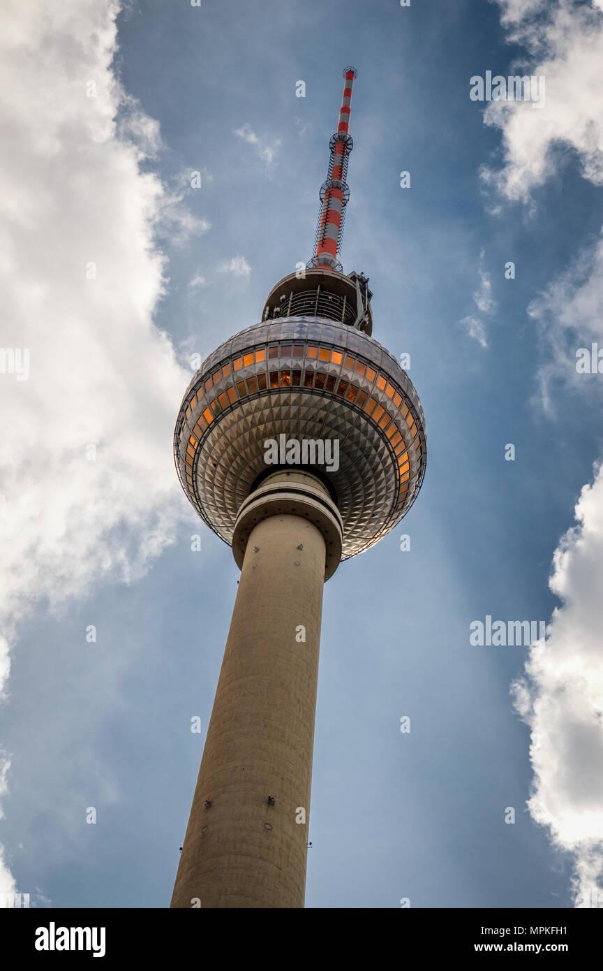 Berlin TV tower seen from Alexanderplatz - Stock Image