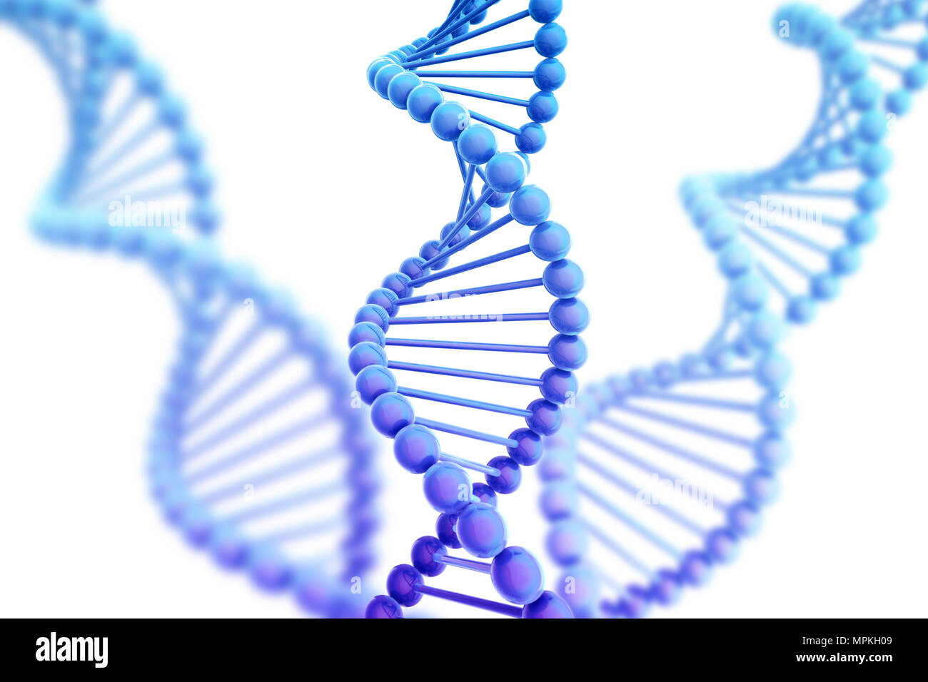 DNA Helix Background Isolated on White 3D Illustration Stock Photo