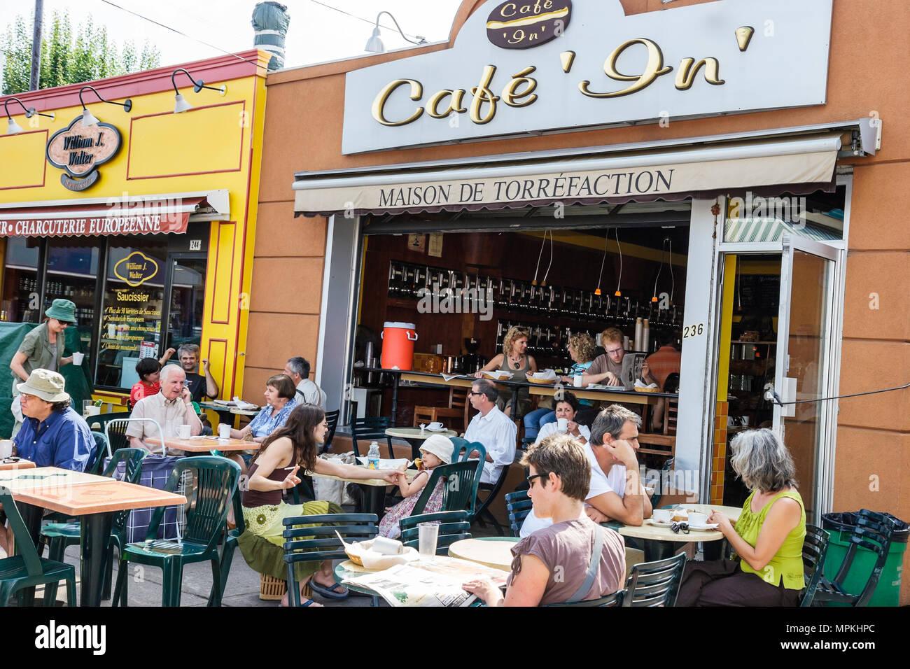 Montreal Canada Little Italy Avenue Casgrain Jean Talon Public Market Cafe In alfresco dining restaurant - Stock Image