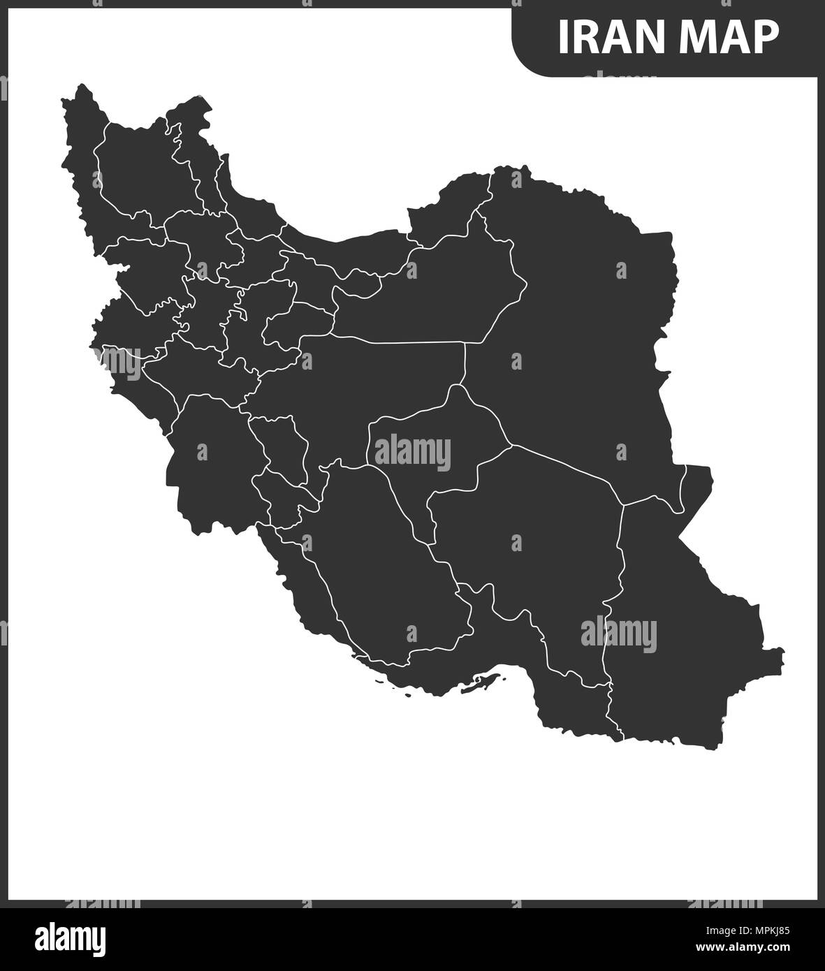 The detailed map of Iran with regions or states. Administrative division. Stock Vector