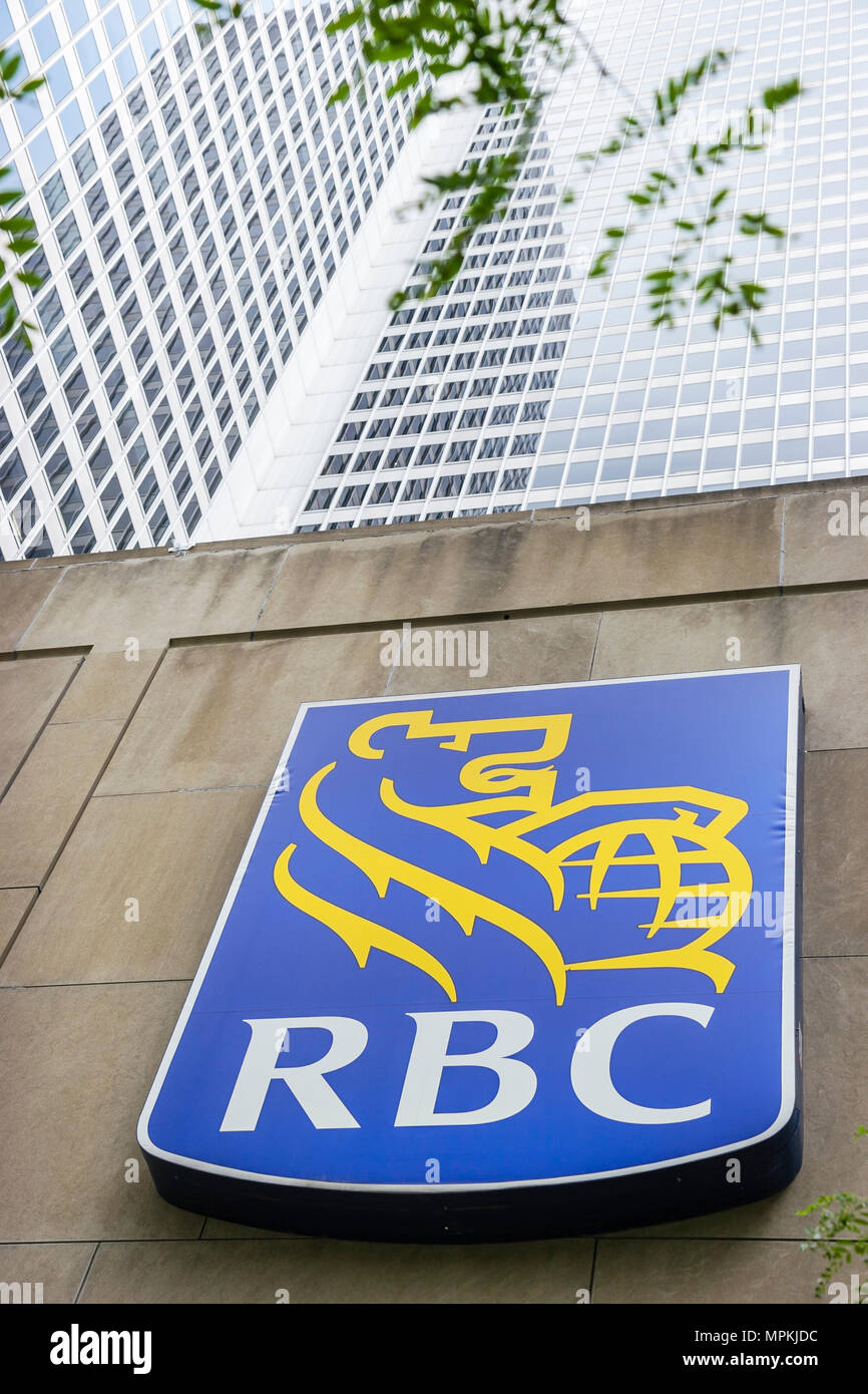Montreal Canada Place Ville Marie RBC Royal Bank of Canada logo sign office building Stock Photo