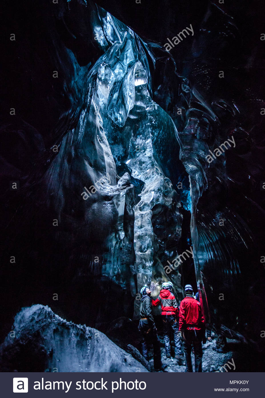 These magnificent ice caves are only accessible by three hour hike on foot. There are several ice cave excursions offered by local guides. - Stock Image