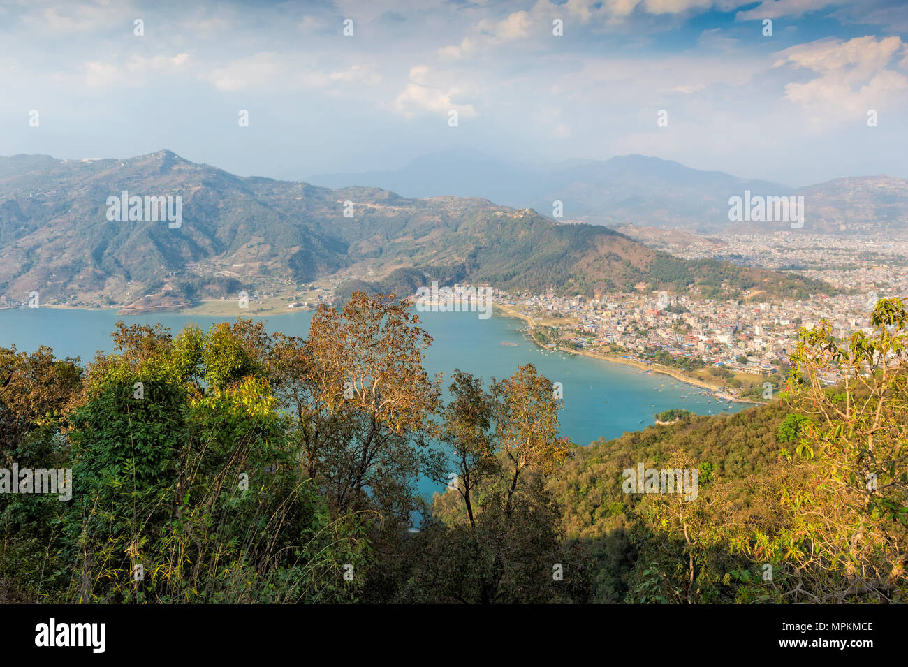 View over Pokhara and Phewa Lake from the World Peace Pagoda, Pokhara, Nepal - Stock Image