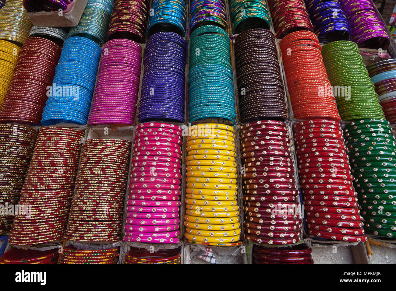 India, West Bengal, Kolkata, Bangles on display in a shop in the Bara Bazar district. Stock Photo