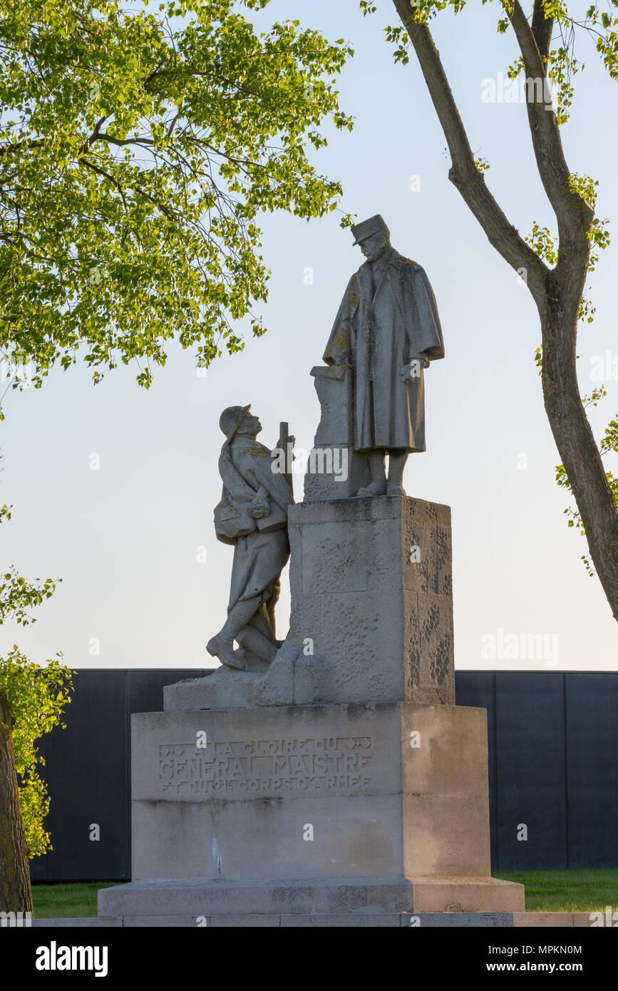 Statue of French General Paul Maistre, Notre Dame de Lorette, France Stock Photo