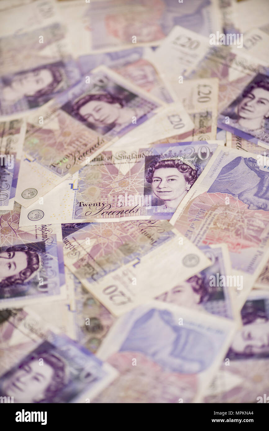20 pound sterling notes background - Stock Image