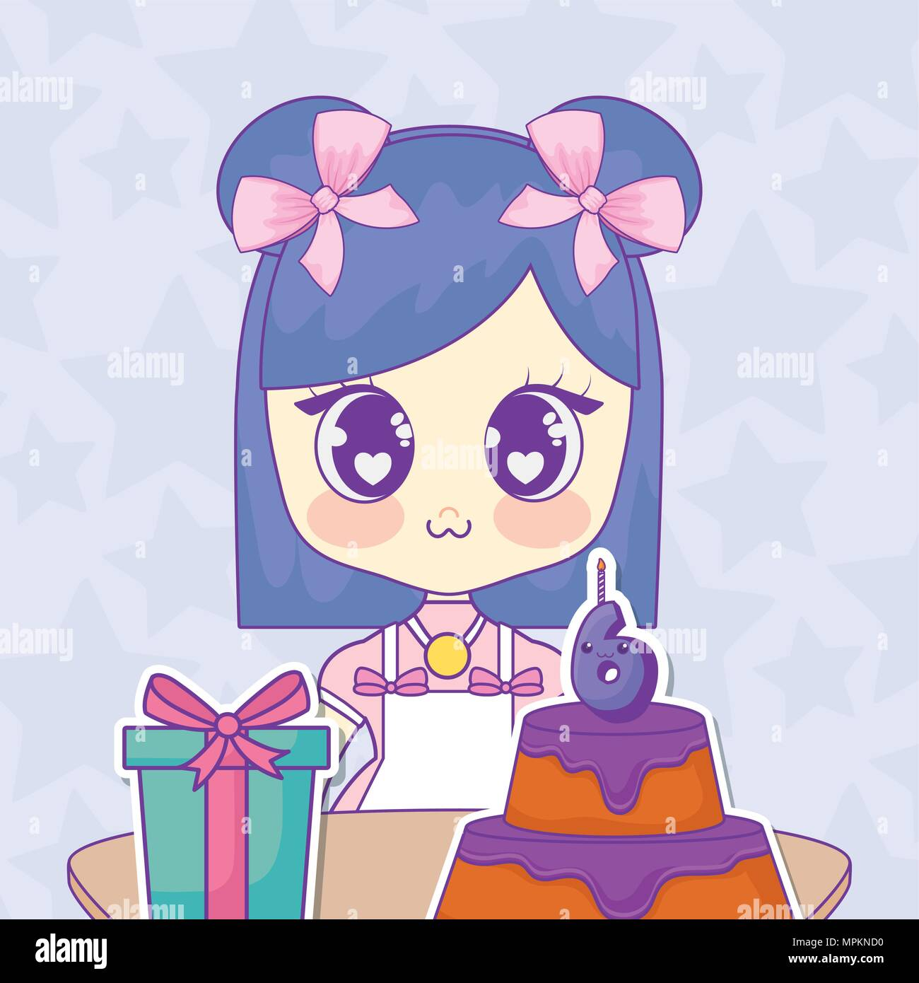 Happy Birthday Design With Anime Girl With Birthday Cake And Gift