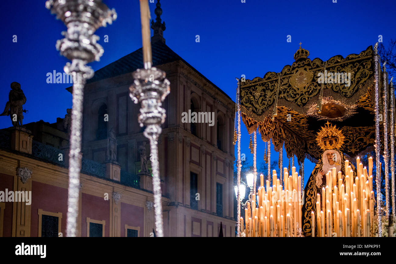 Virgen de los Dolores (Our Lady of Sorrow) in front of San Telmo Palace, Holy Tuesday, Seville, Spain - Stock Image