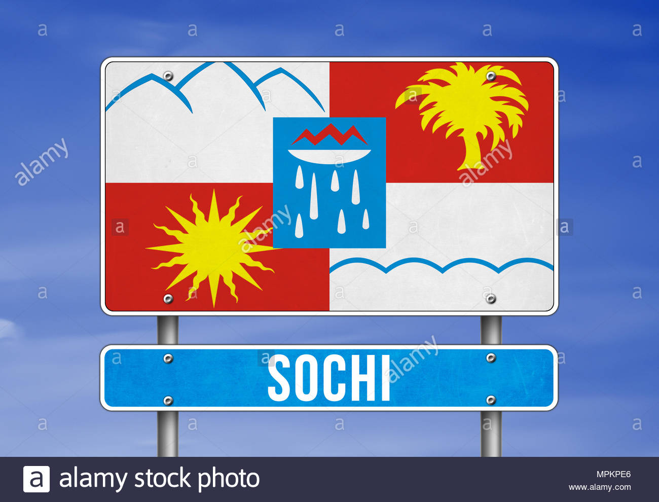 Welcome to Saint Sochi in Russia - Stock Image