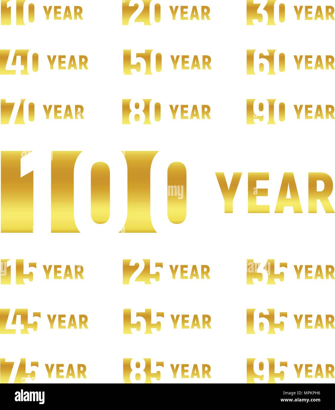 Anniversary of company gold negative space sign business birthday anniversary of company gold negative space sign business birthday vector logo set golden numbers year num celebration card design element stopboris Choice Image