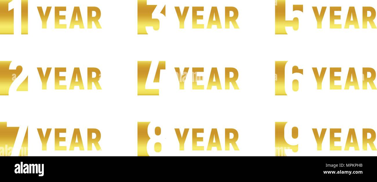 Anniversary of company gold negative space sign business birthday business birthday vector logo set golden numbers year num celebration card design element vector anniversary icon set invitation card stopboris Choice Image