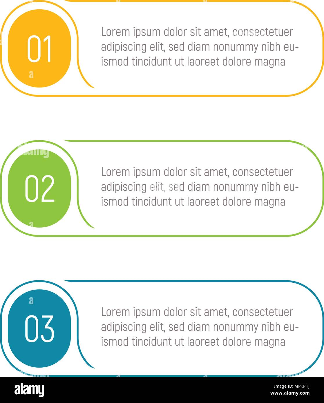 three steps infographic elements step button vector illustration