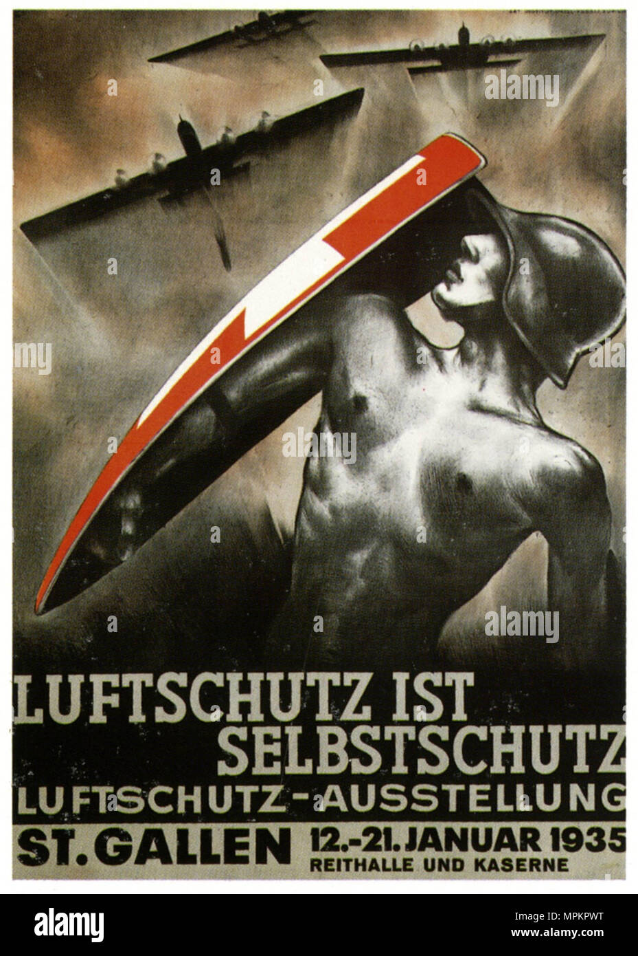 German Nazi Vintage Propaganda Poster - Civil Air Defence is Self Protection - Stock Image