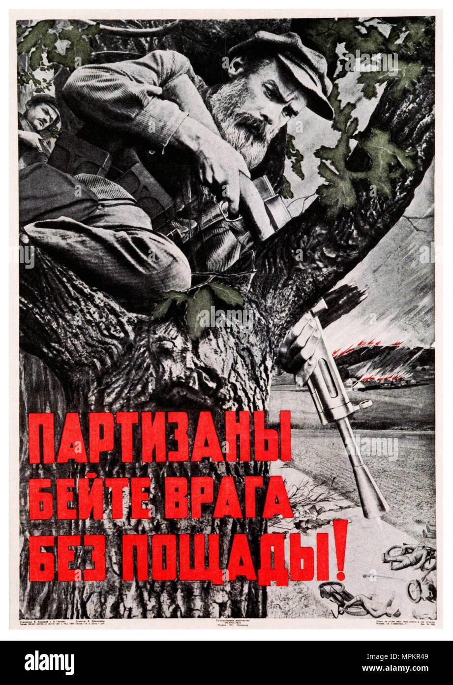 USSR Vintage Propaganda Poster - Partisans, Batter the Enemies Mercilessly - Stock Image