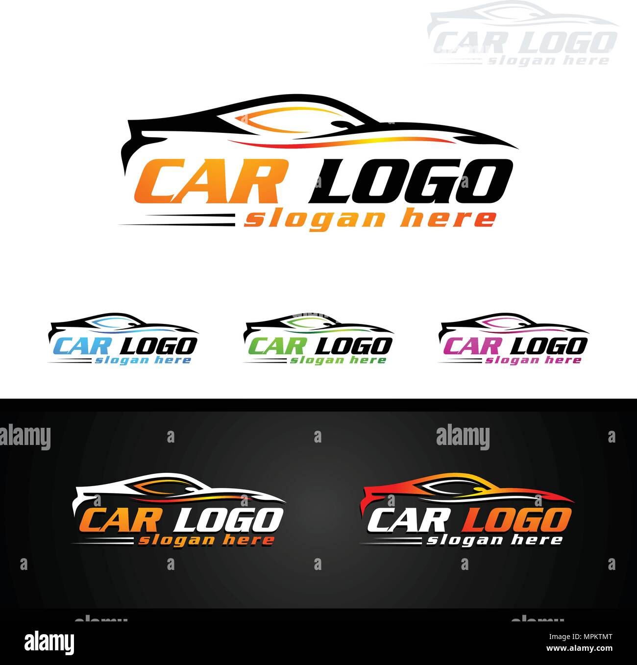 Auto Car Logo For Sport Cars Rent Wash Or Mechanic Stock Vector