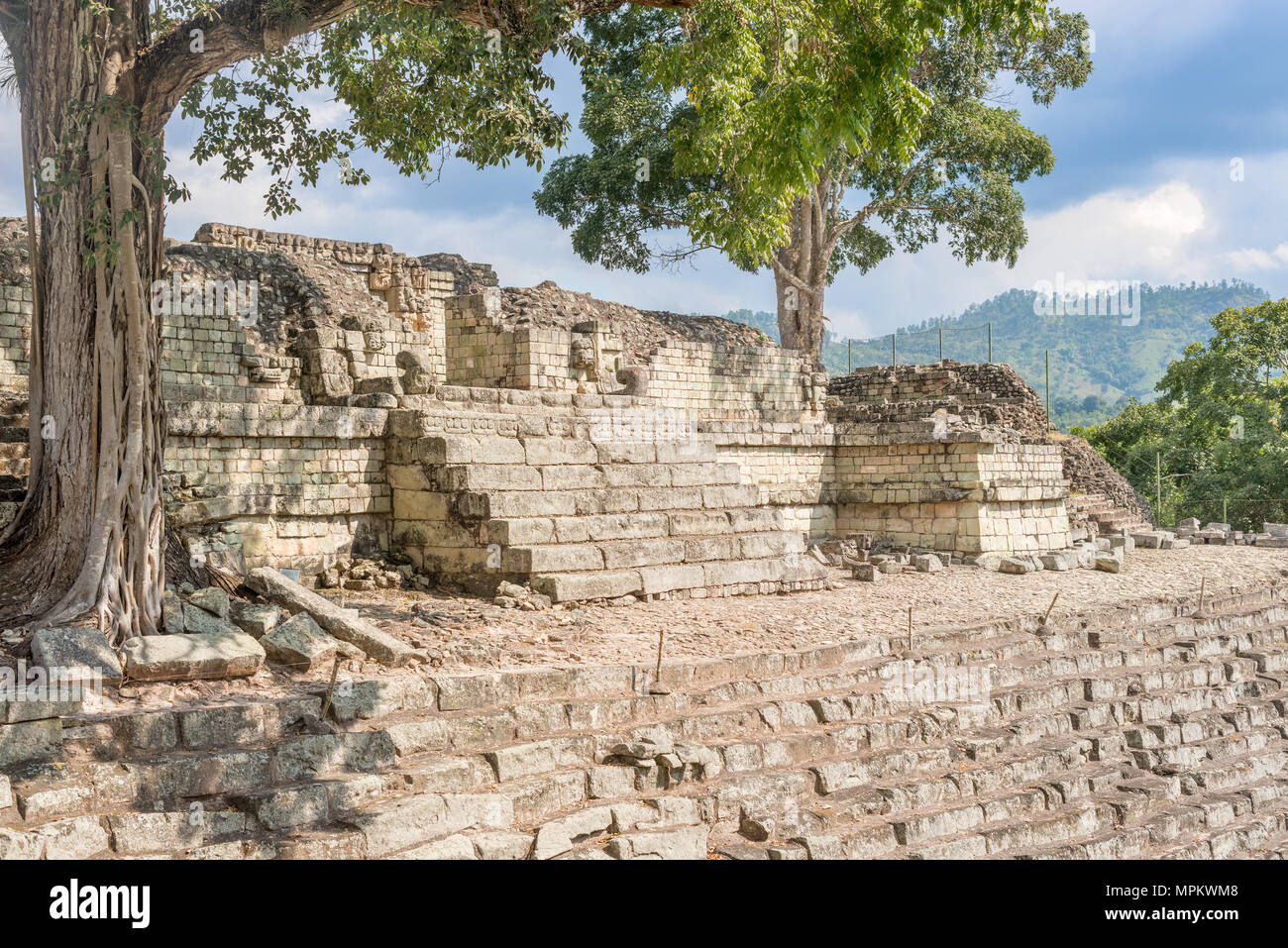 UNESCO world heritage site, famous Mayan site in Copan Ruinas, Honduras, Old stone buildings. - Stock Image