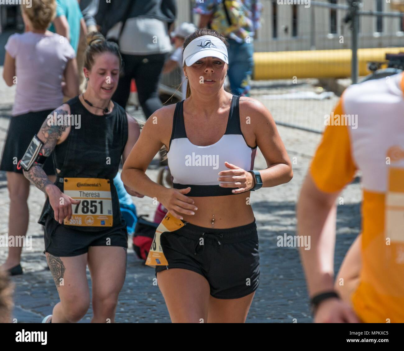 Regensburg, Bavaria, Germany, May 13, 2018: Participant of the Regensburg Marathon 2018 at the old city hall - Stock Image