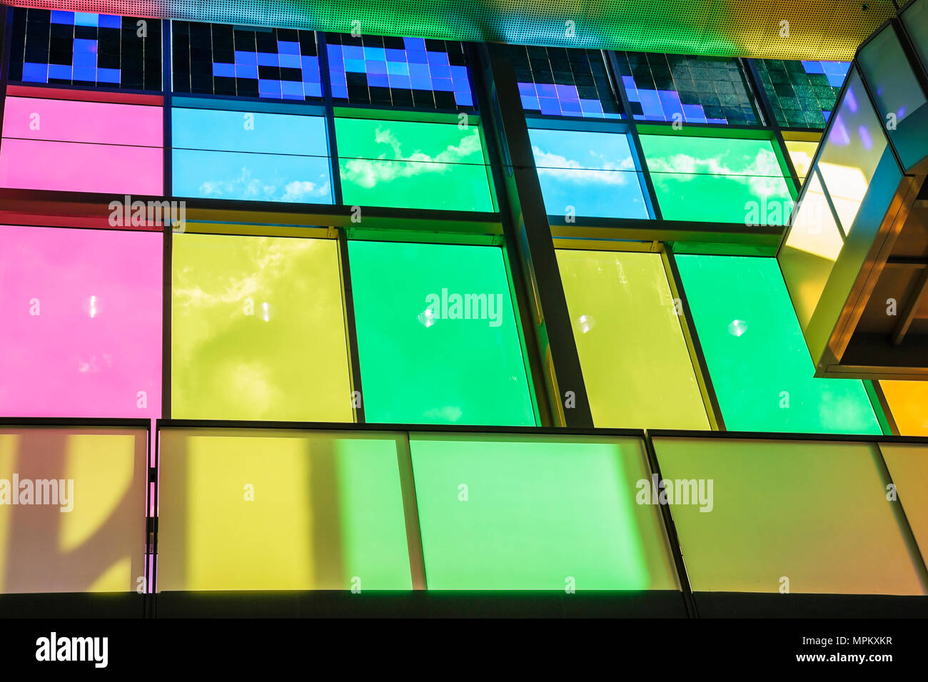 Montreal Canada Palais de Congres Convention Center colored glass panels - Stock Image