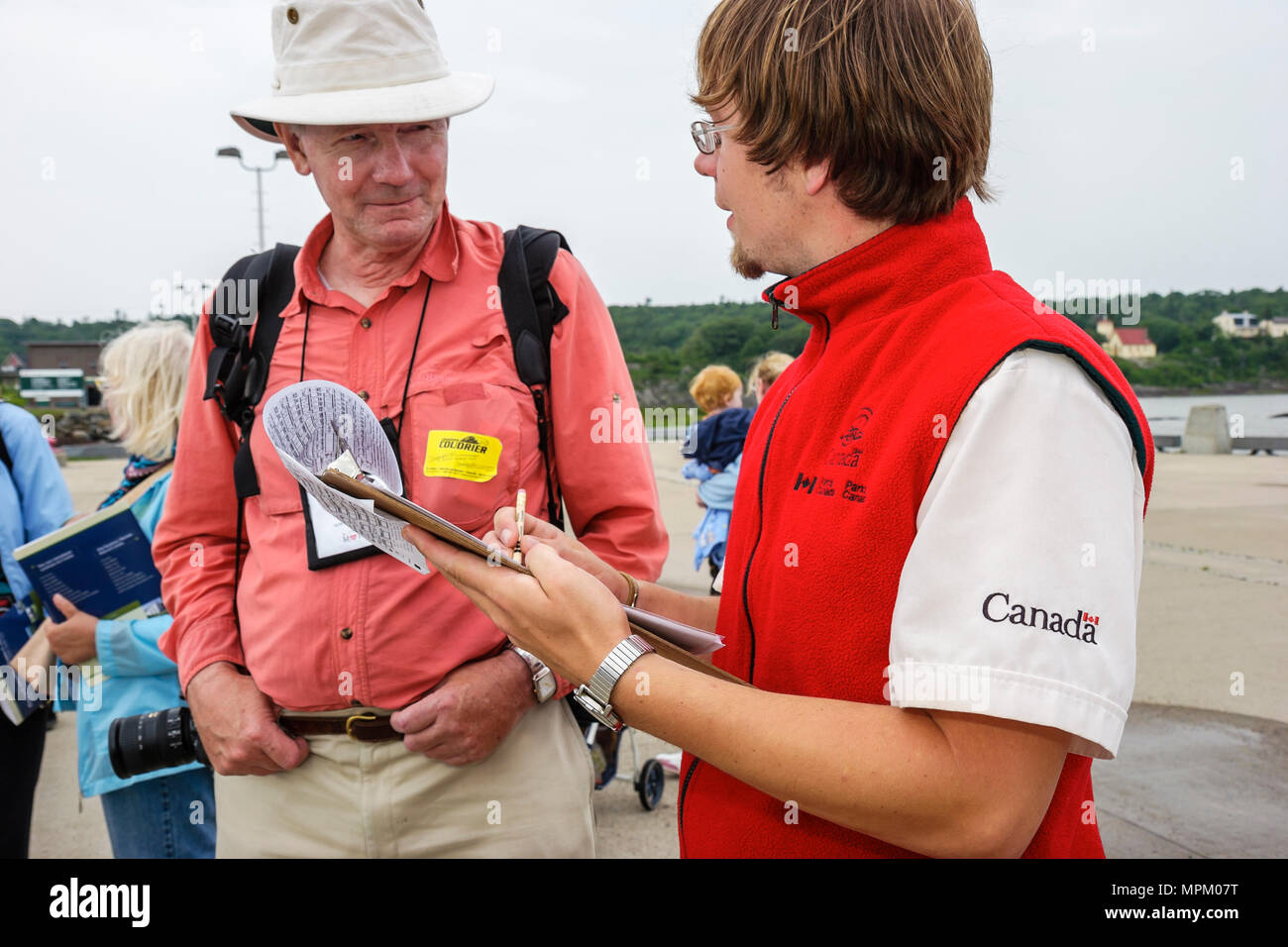 Canada Grosse Ile Irish Memorial National Historical Site park employee surveys writer about visit - Stock Image