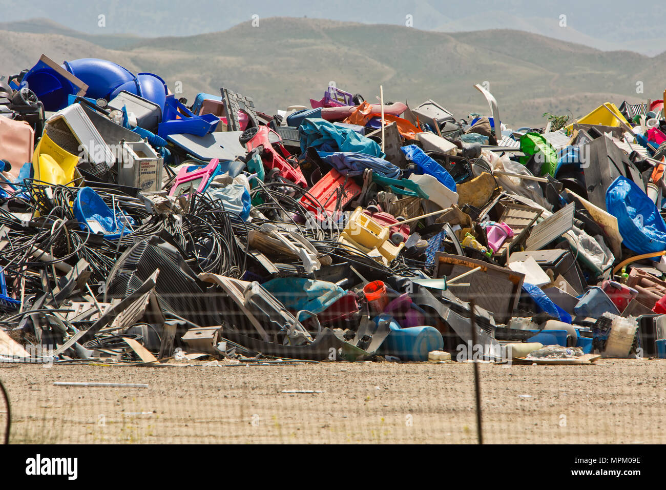 Recycling discarted plastic products, sanitary landfill. - Stock Image