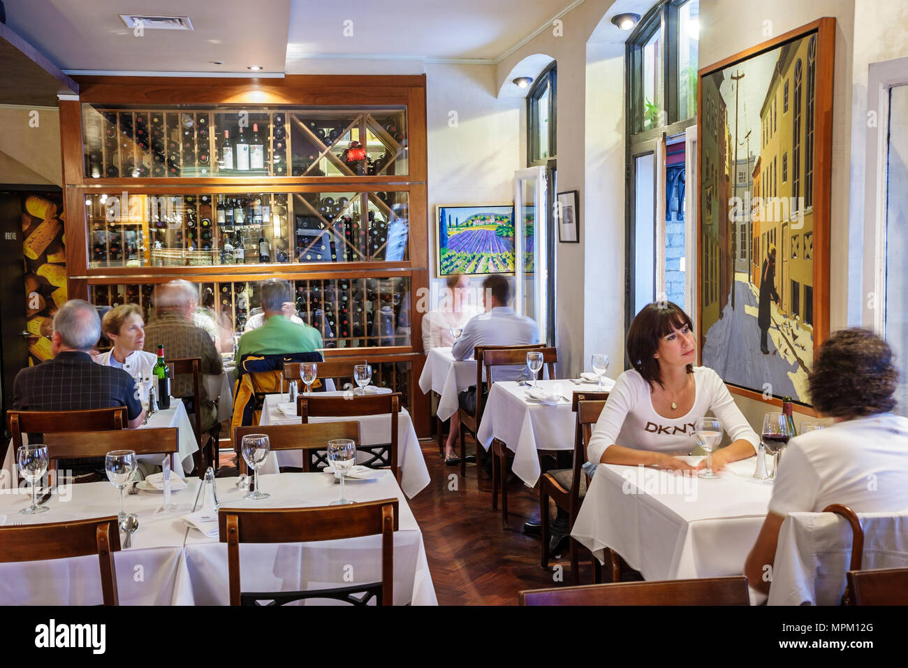 Quebec City Canada Lower Town Rue du Sault au Matelot L'Echaude Restaurant tables dining - Stock Image