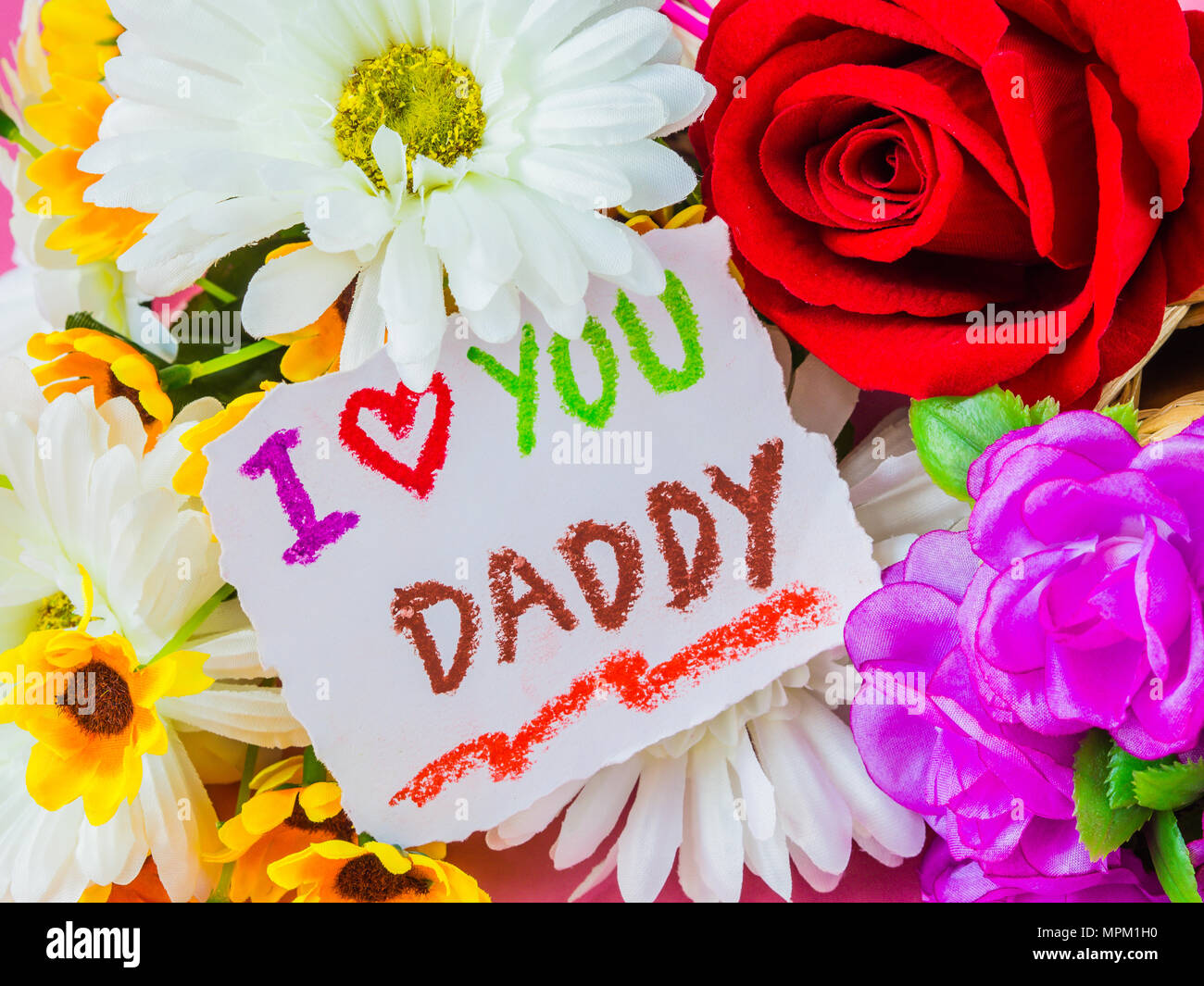 Father's day concept. I LOVE YOU DADDY message with white ...