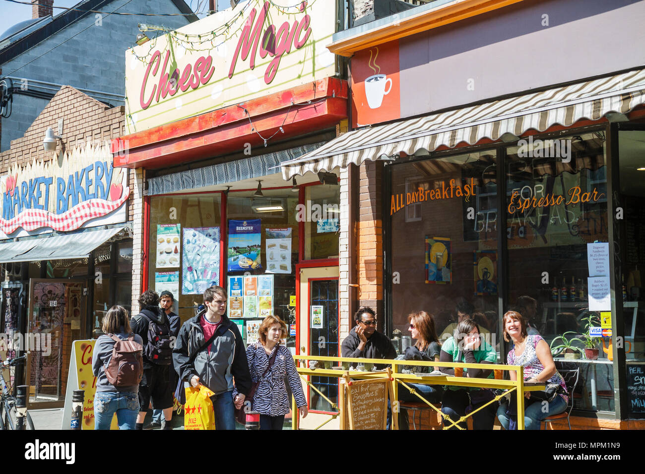 Toronto Canada Ontario Baldwin Street Kensington Market historic neighborhood shopping shops bakery cheese espresso bar coffee s - Stock Image
