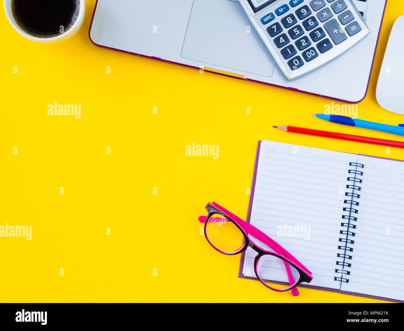 Flat lay top view office table stock photo (edit now) 667791892.