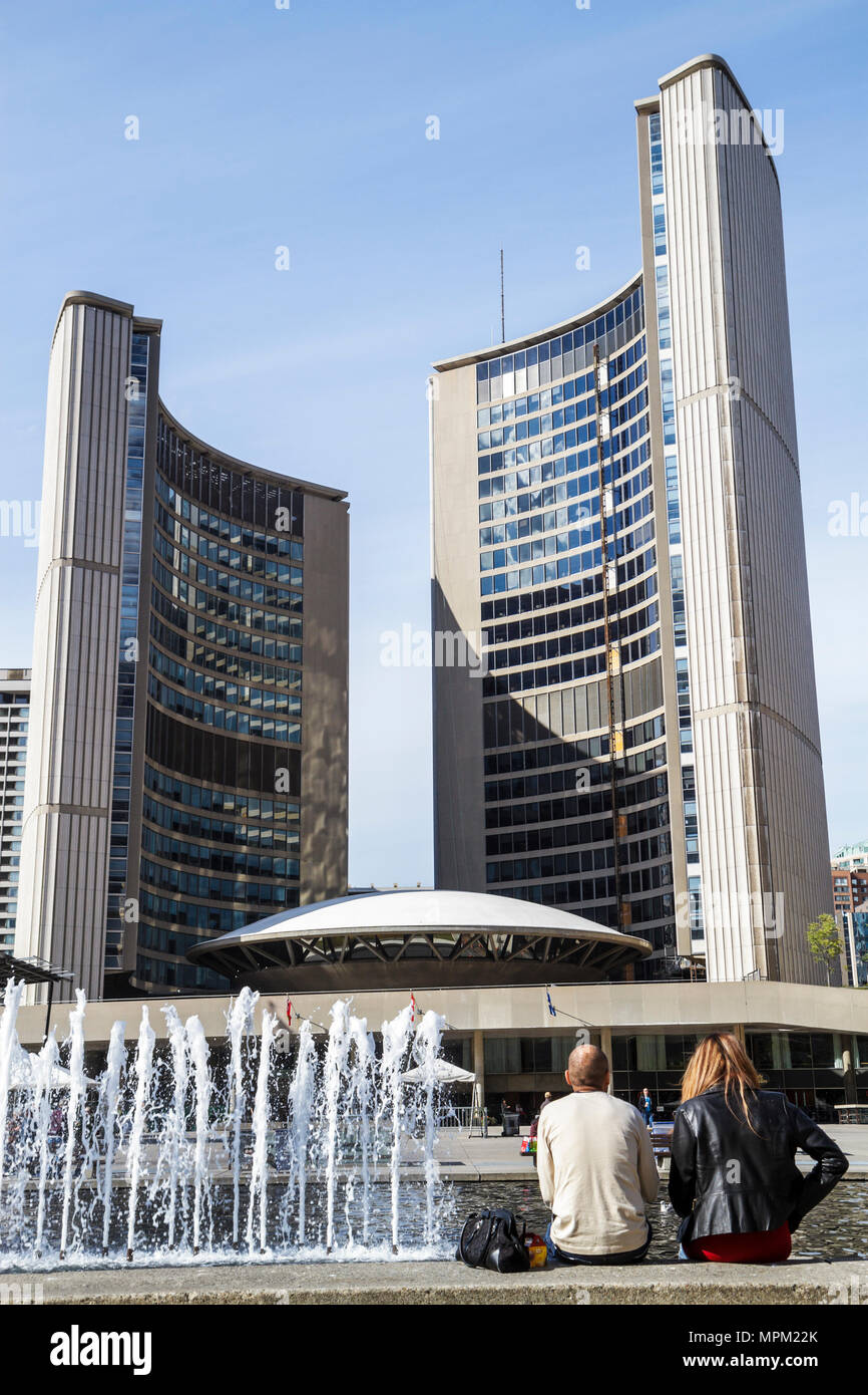 Toronto Canada Ontario Nathan Phillips Square City Hall municipal government building modern skyscraper Architect Viljo Revell f - Stock Image