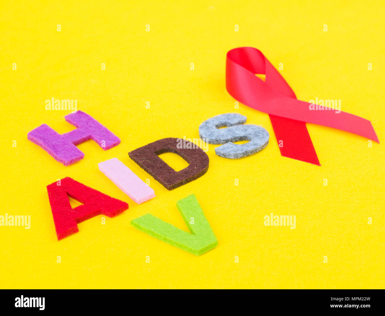 World Aids Day Concept Red Ribbon With Hiv And Aids Text Stock