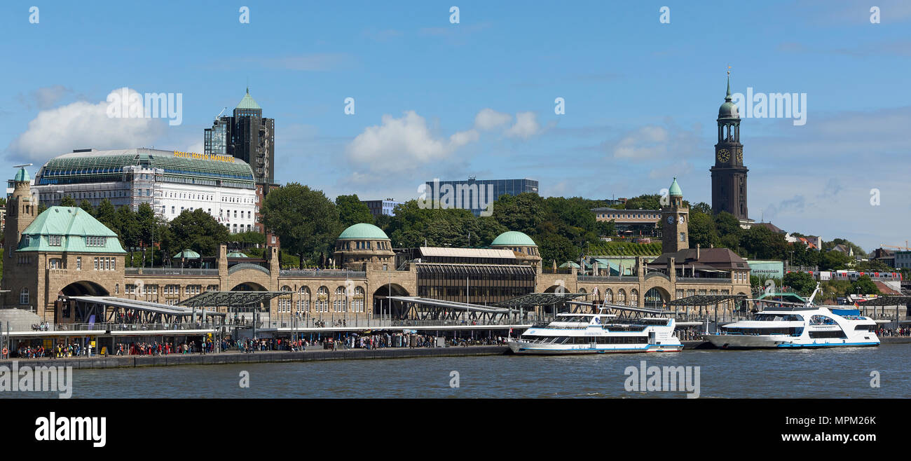 Hamburg habour, Germany on a sunny day - Stock Image