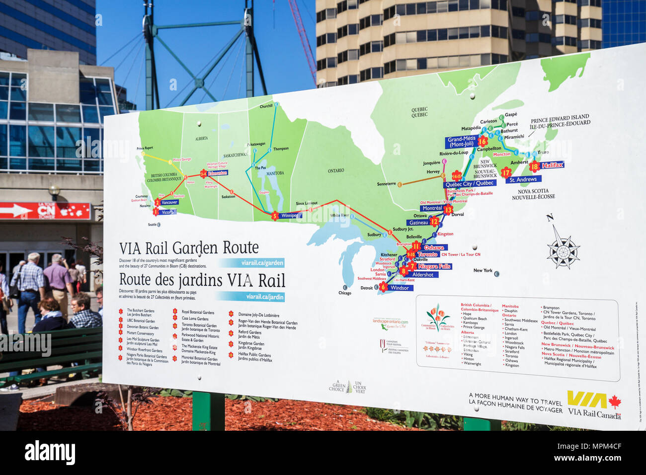 Toronto Canada Ontario Bremner Boulevard Rogers Centre center information sign poster map itinerary information marketing VIA Ra - Stock Image