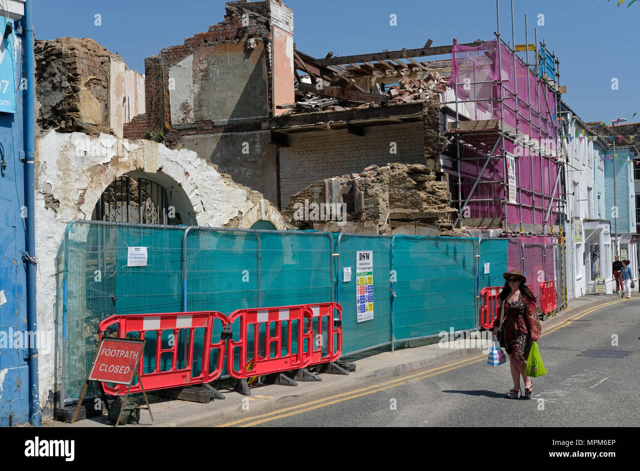 Shop fronts demolished in Falmouth, Cornwall - Stock Image