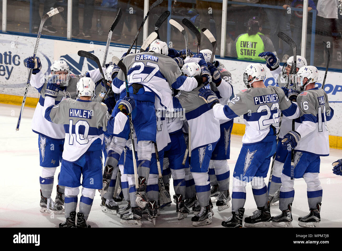 The U.S. Air Force Academy Falcons celebrate after defeating the Bentley  Falcons 2-1 to clinch the best-of-three series at the Cadet Ice Arena in  Colorado ... 07791ae3346