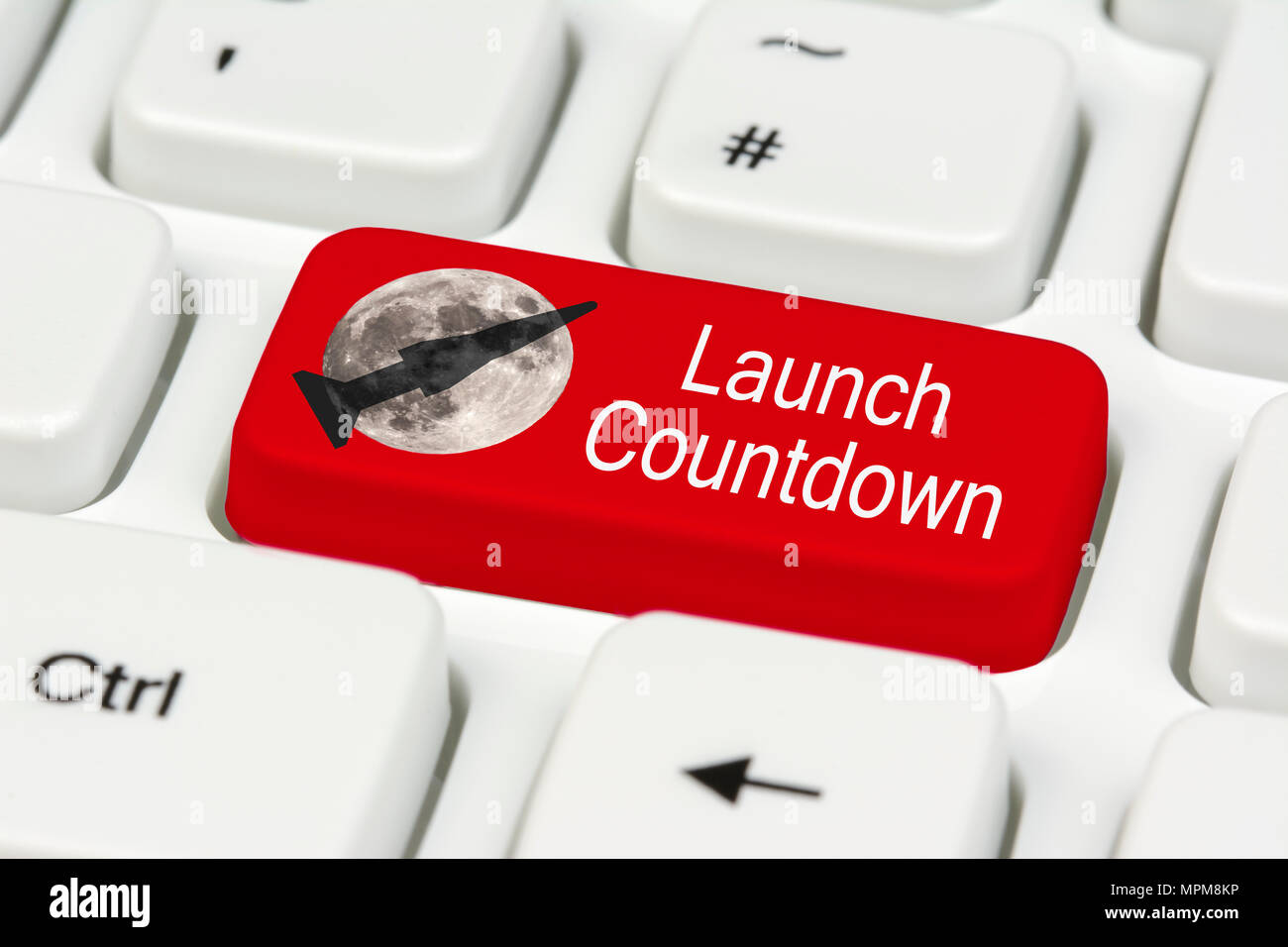 Launch Countdown button with a rocket and moon graphic, on a