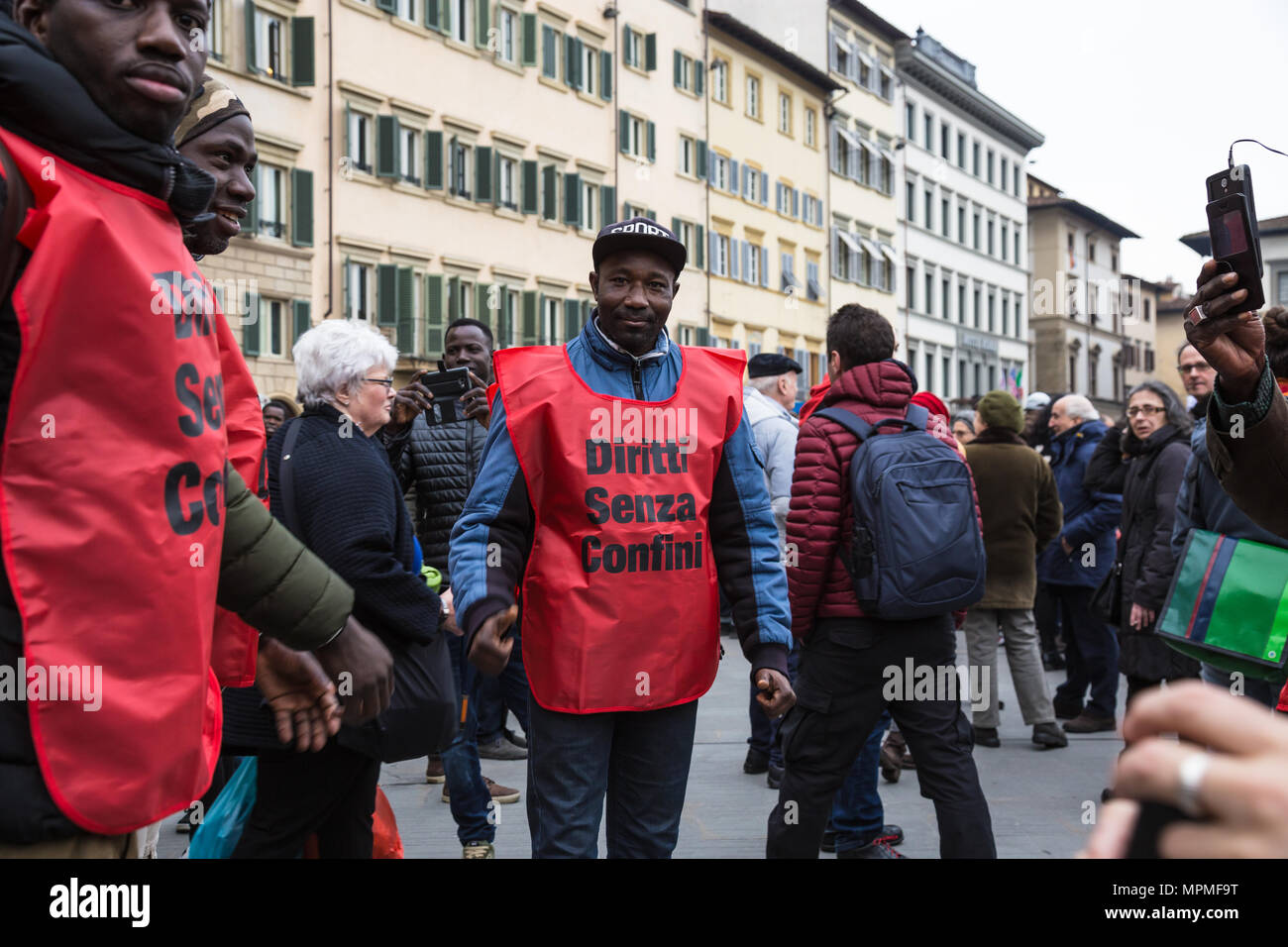 National anti-racist demonstration in Florence in support of Idy, Florence 2018 - Stock Image