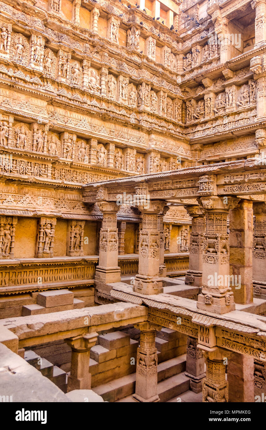 God and goddesses sculptures at stepwell Rani ki vav, an intricately constructed historic site in Gujarat, India. A UNESCO world heritage site. - Stock Image