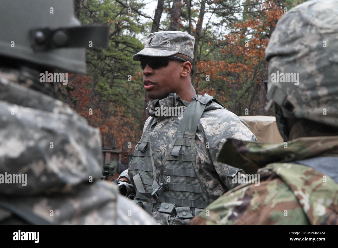 1st Lt Joseph Bowie Of The 78th Training Division An Observer Coach Trainer O CT For WAREX 78 17 01 Reviews Tactical Operations With Soldiers From