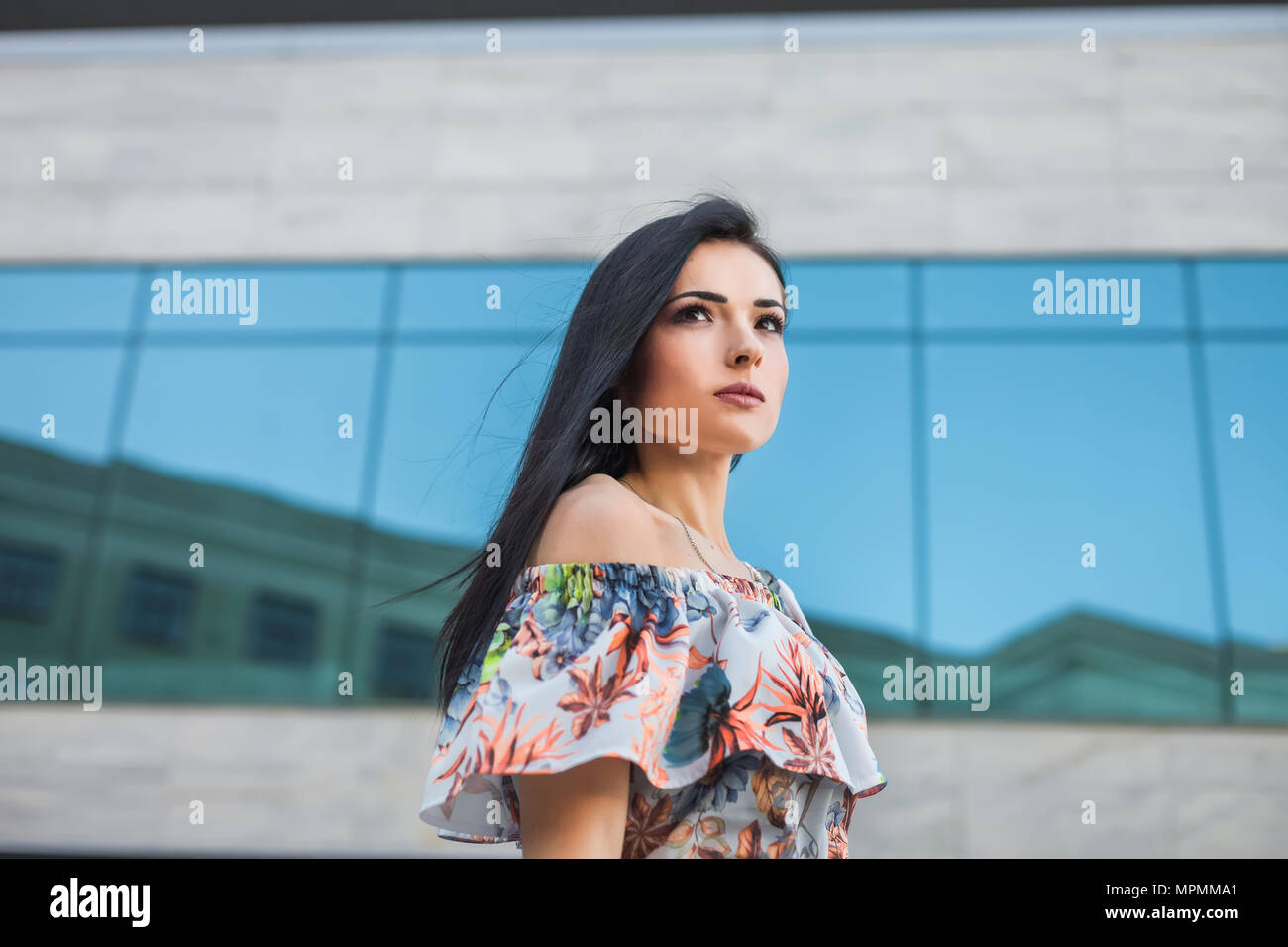 thoughtfull teen in the city - Stock Image