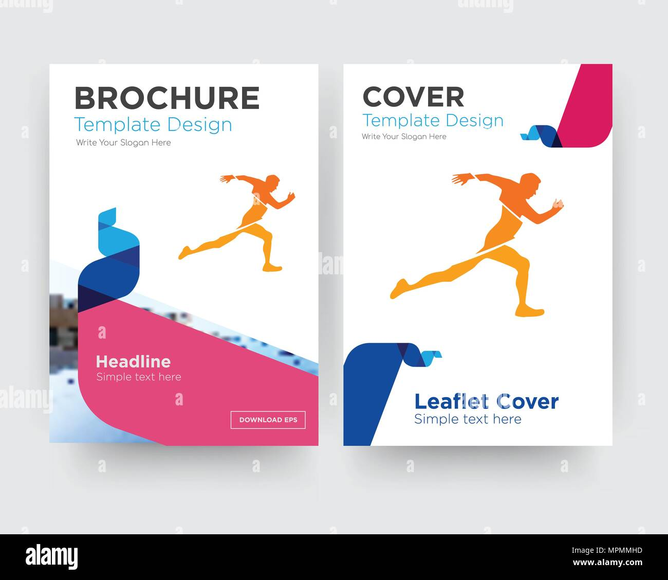 running club brochure flyer design template with abstract photo
