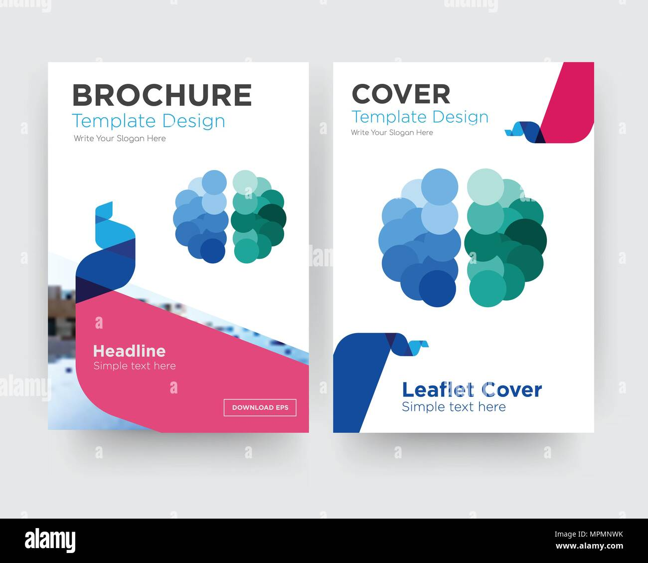 free brain brochure flyer design template with abstract photo