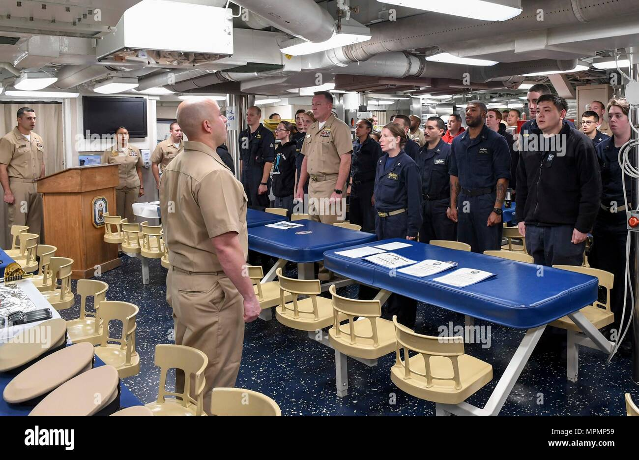 170401 n rm689 018 south china sea april 1 2017 sailors recite the sailors creed at the start of the chief petty officer birthday celebration aboard