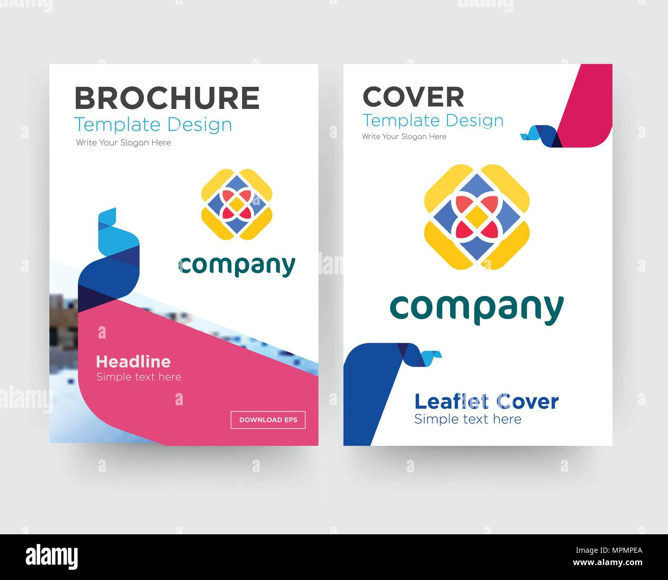 free brochure flyer design template with abstract photo background