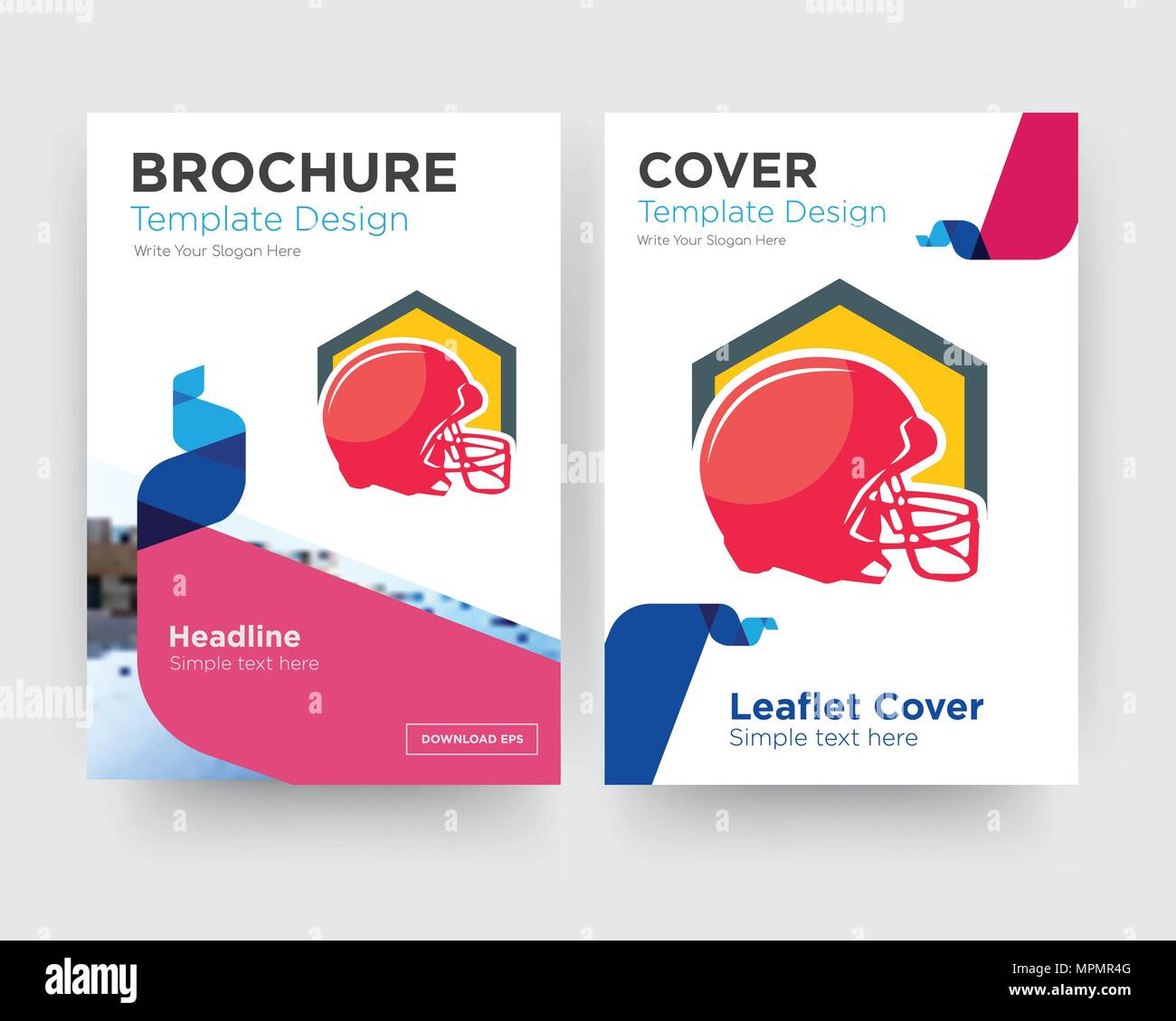 football helmet brochure flyer design template with abstract photo