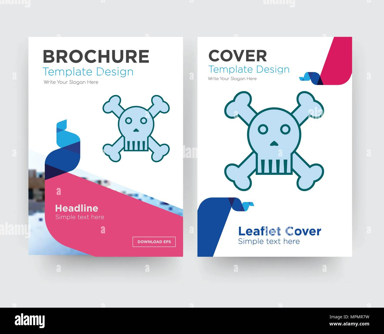 skull and crossbones brochure flyer design template with abstract