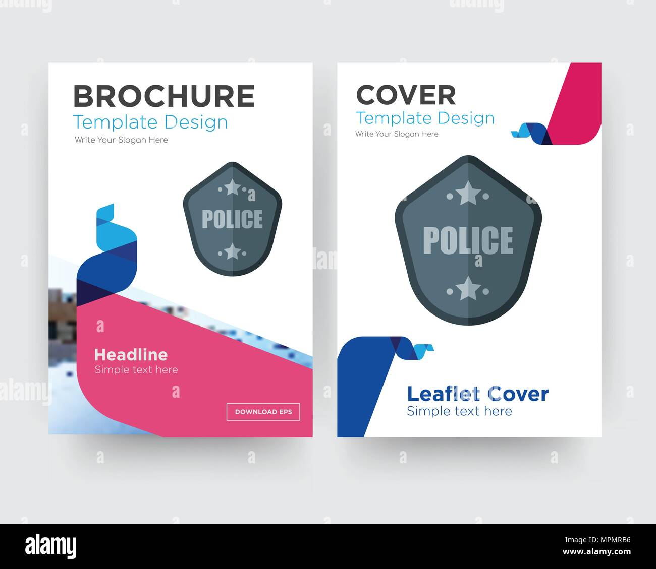 Police Badge Brochure Flyer Design Template With Abstract Photo