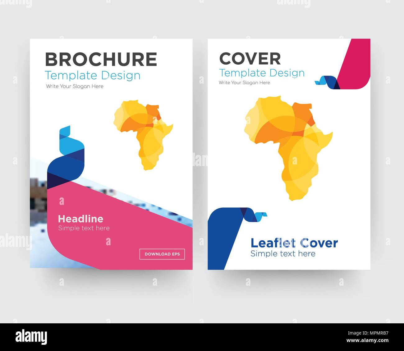 africa map brochure flyer design template with abstract photo