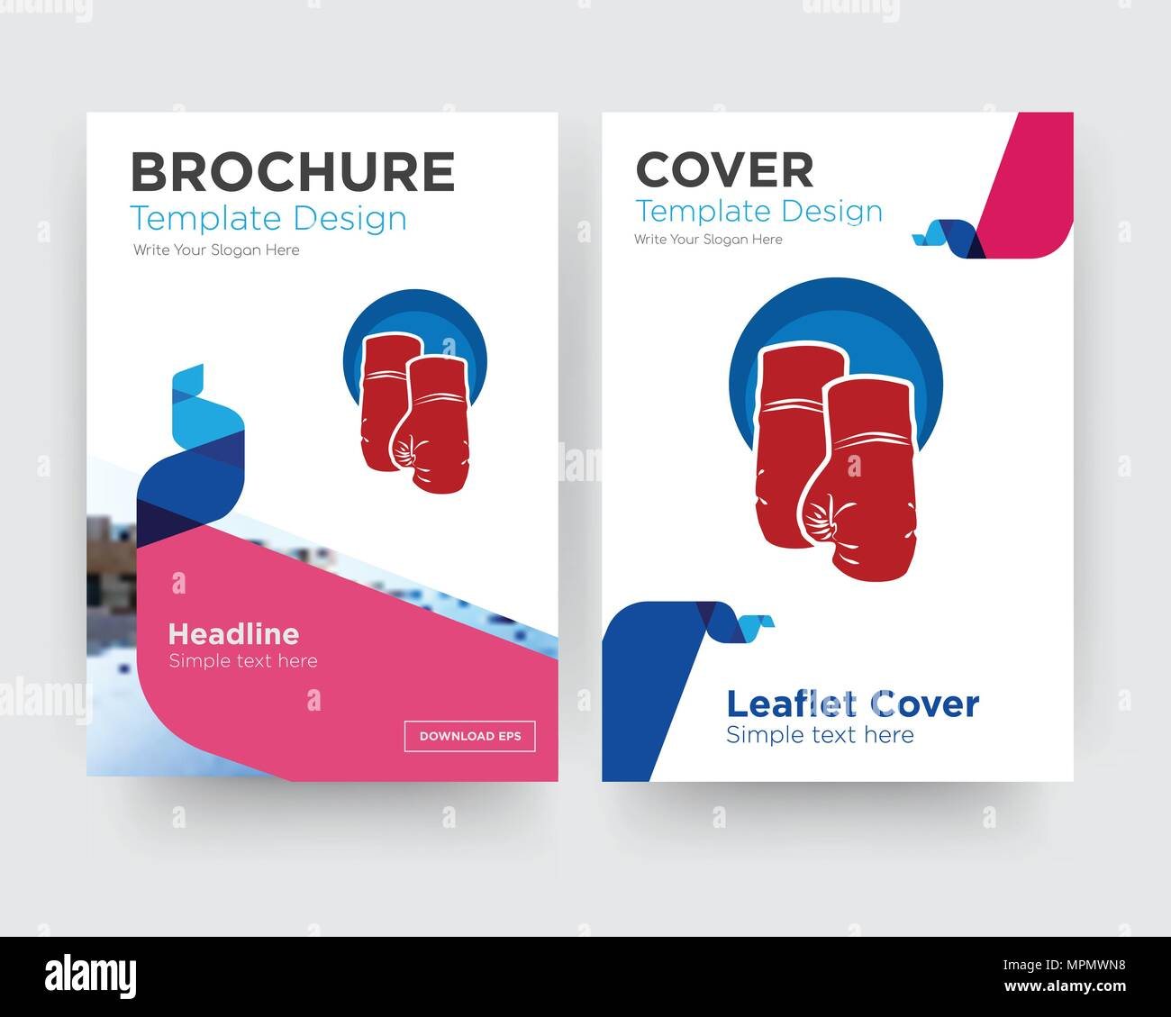 boxing gloves brochure flyer design template with abstract photo