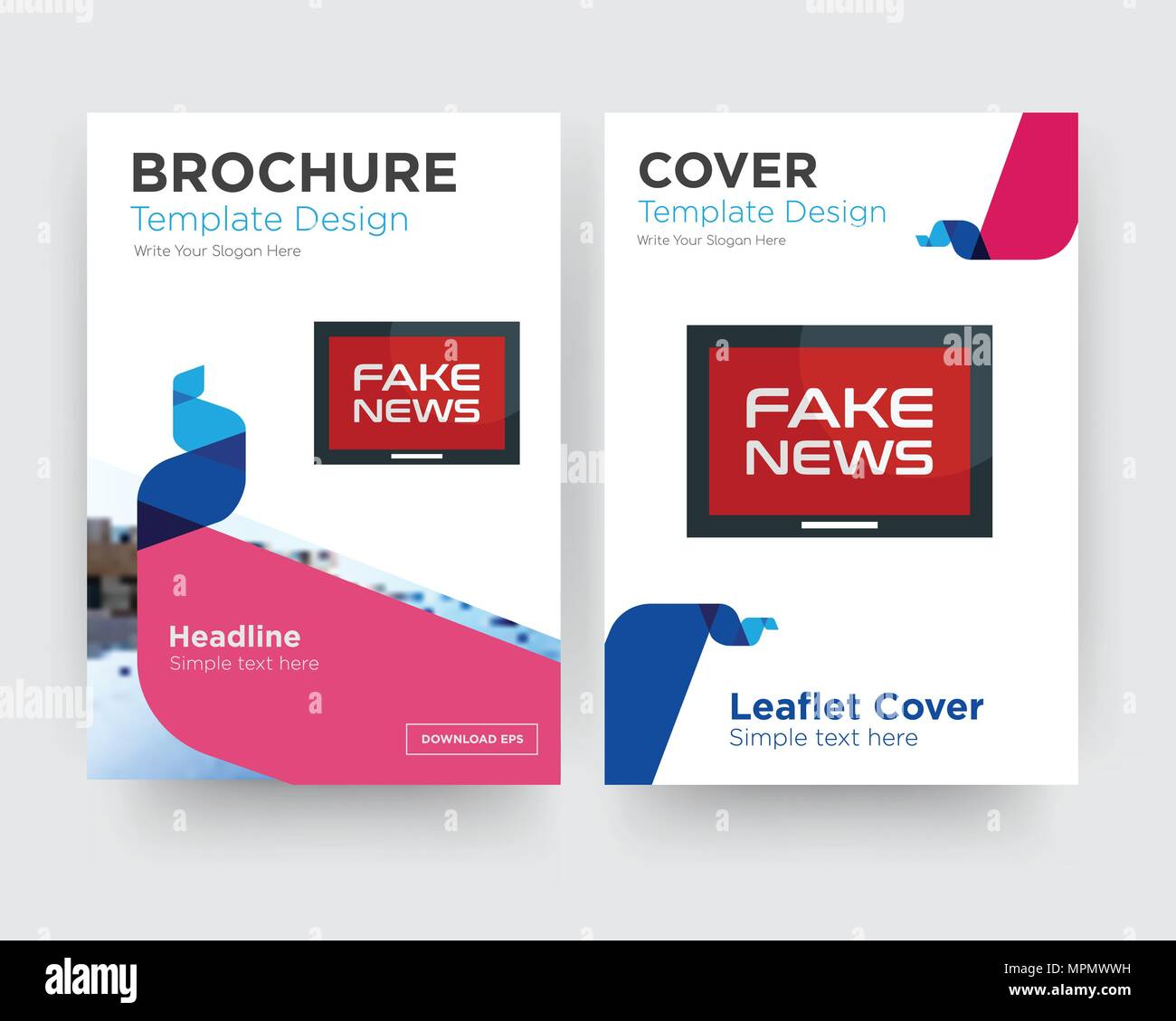 fake news brochure flyer design template with abstract photo